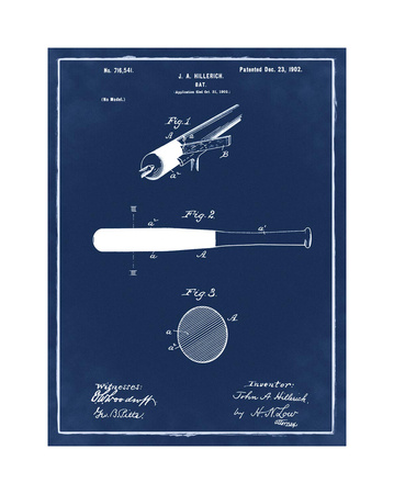 Bat, 1902- Blue II Giclee Print by Bill Cannon