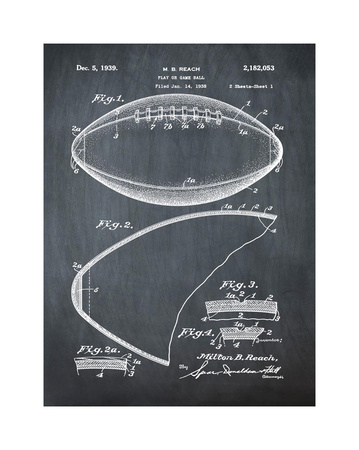Football, 1938-Chalkboard Giclee Print by Bill Cannon!