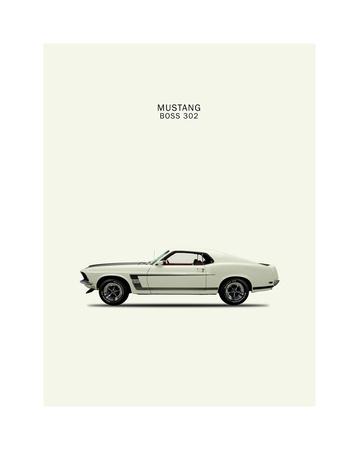 Ford Mustang Boss302 1969 Giclee Print by Mark Rogan