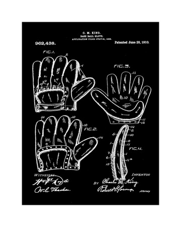 Baseball Glove, 1909-Black Giclee Print by Bill Cannon