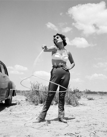 Elizabeth Taylor with Lasso Set of Giant 1955 Photo by  Capital Art