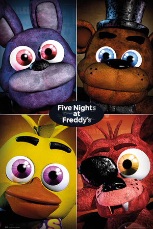 Five Nights At Freddy's- Fluffy Scary Grid Prints