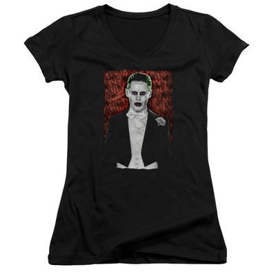 Juniors: Suicide Squad- Joker Dressed To Kill V-Neck T-Shirt