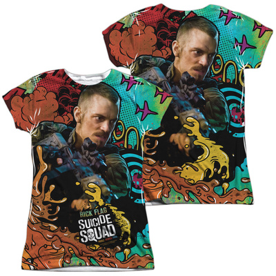 Juniors: Suicide Squad- Rick Flag Psychedelic Graffiti (Front/Back) T-Shirt