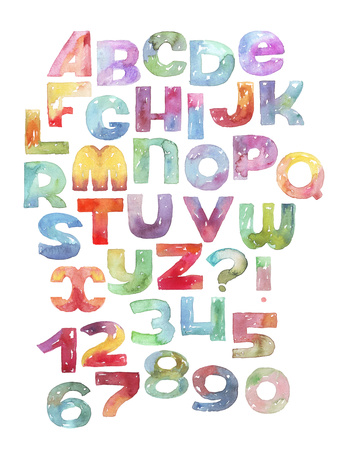 Watercolor Letters and Numbers Sequence, Gradient Alphabet Posters by  yokunen