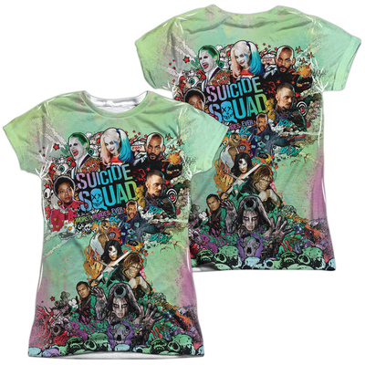 Juniors: Suicide Squad- Psychedelic Graffiti Cloud (Front/Back) T-shirts