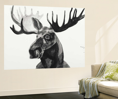 Watercolor Moose Wall Mural by Ben Gordon