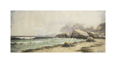 North East Seacoast Scene with Sailboats in Distance Premium Giclee Print by Alfred Thompson Bricher