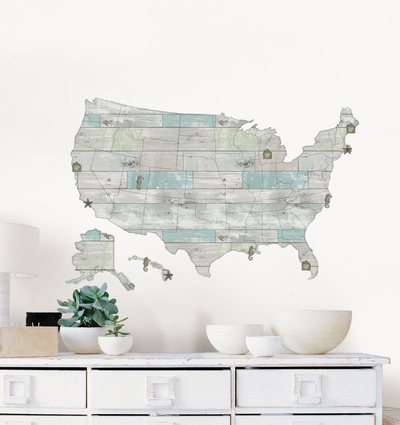 Beach Lover US Map Decal Wall Decal Adorable and Cute Kids Style