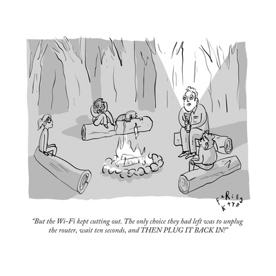 """""""But the Wi-Fi kept cutting out. The only choice they had left was to unpl..."""" - New Yorker Cartoon Giclee Print by Farley Katz"""