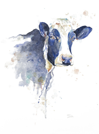 Watercolor Blue Cow Art by Patricia Pinto