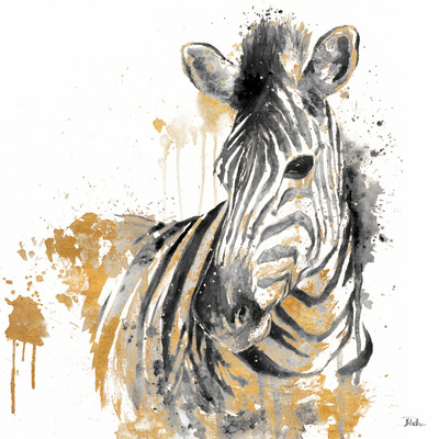 Water Zebra With Gold Posters by Patricia Pinto