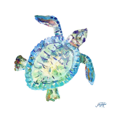 Sea Life In Blues I (turtle) Prints by Julie DeRice