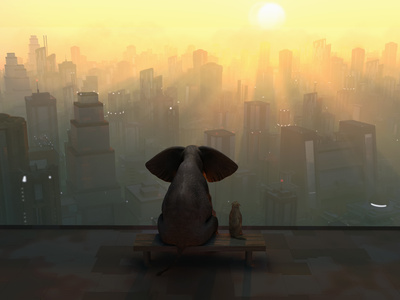 Elephant and Dog Sit on the Roof of a Skyscraper Photographic Print by  Mike_Kiev