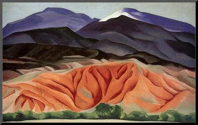 Black Mesa Landscape, Outside of Marie's Mounted Print by Georgia O'Keeffe