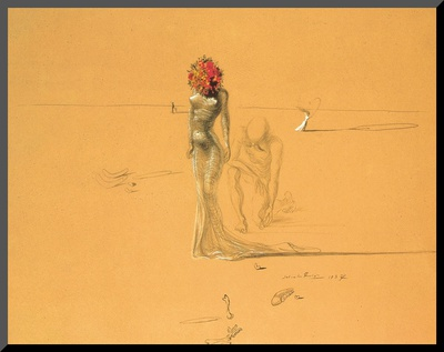 Female Figure with Head of Flowers, 1937 Mounted Print by Salvador Dalí