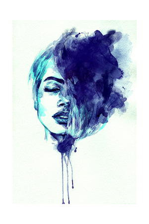 Beautiful Woman Face. Abstract Watercolor. Fashion Illustration Prints by Anna Ismagilova