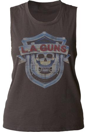 Juniors Muscle Tank: L.A. Guns- Vintage Logo Womens Tank Tops
