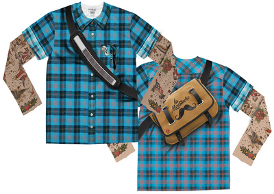 Long Sleeve: Hipster Plaid Tattoo Costume Tee (Front/Back) Shirt
