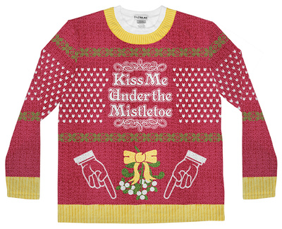 Long Sleeve: Mistle Toe Ugly Sweater (Front/Back) T-shirts