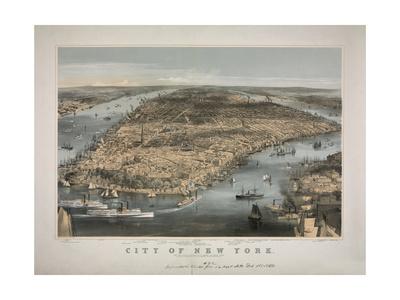 1856 NYC Map Prints by N. Harbick