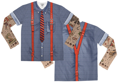 Youth Long Sleeve: Tattooed Hipster with Suspender Costume Tee (Front/Back) Shirts