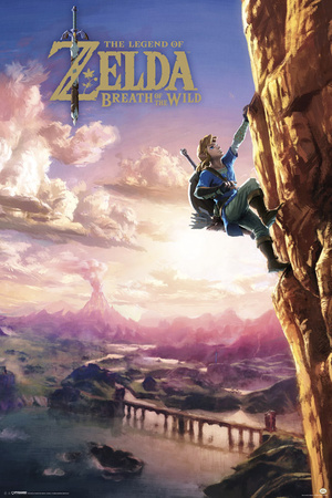 Zelda Breath of the Wild, Link climbing cliff, Nintendo Switch video game console poster art