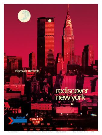 Rediscover New York - Discover Amtrak - Chrysler Building, MetLife Building Print by Bill Carter