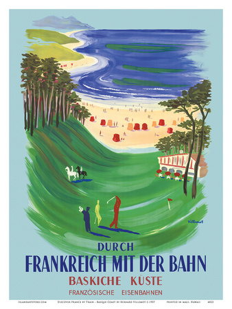 Durch Frankreich mit der Bahn (Discover France by Train) - The Basque Coast - French Railways Posters by Bernard Villemot
