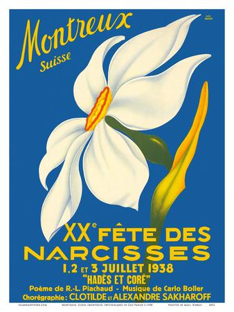 Montreux, Suisse (Montreux, Switzerland) - 1938 XX Fête des Narcisses (20th Narcissus Festival) Posters by Geo Pahud