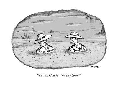 """""""Thank God for the elephant."""" - New Yorker Cartoon Giclee Print by Peter Kuper"""