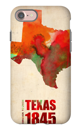 Texas Watercolor Map iPhone 7 Case by  NaxArt