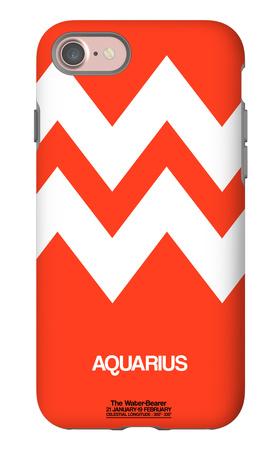 Aquarius Zodiac Sign White on Orange iPhone 7 Case by  NaxArt