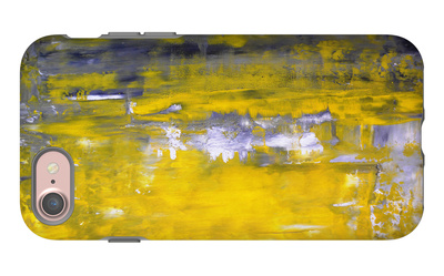 Grey And Yellow Abstract Art Painting iPhone 7 Case by  T30Gallery