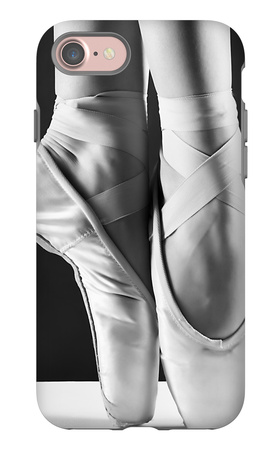 A Photo Of Ballerina'S Pointes On Black Background iPhone 7 Case by  PS84