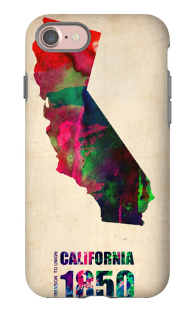 California Watercolor Map iPhone 7 Case by  NaxArt