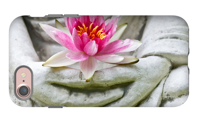 Buddha Hands Holding Flower iPhone 7 Case by  anitasstudio
