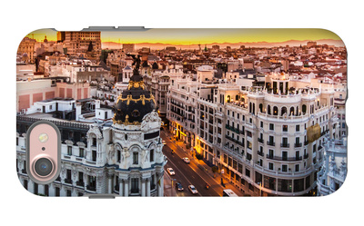 Panoramic View Of Gran Via, Madrid, Spain iPhone 7 Case by  kasto