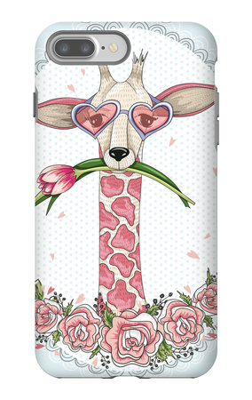 Cute Hipster Giraffe Background with Floral Frame. iPhone 7 Plus Case by cherry blossom girl