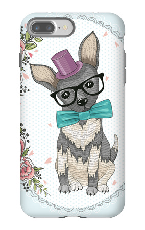 Cute Hipster Dog and Flower Frame. iPhone 7 Plus Case by cherry blossom girl