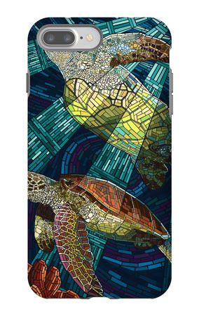 Sea Turtle - Paper Mosaic iPhone 7 Plus Case by  Lantern Press