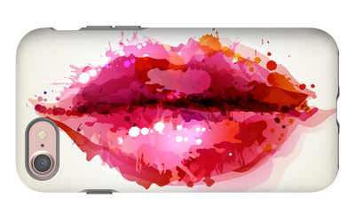 Beautiful Woman's Lips Formed By Abstract Blots iPhone 7 Case by  artant