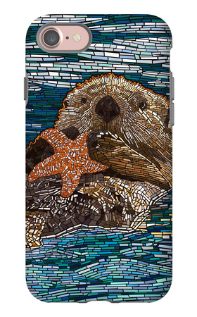 Sea Otter - Paper Mosaic iPhone 7 Case by  Lantern Press