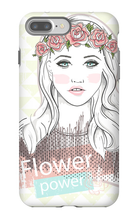 Young Girl Fashion Illustration. Pastel Fashion Trend. Girl with Flower Crown. iPhone 7 Plus Case by cherry blossom girl