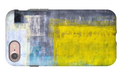 Grey, Teal And Yellow Abstract Art Painting iPhone 7 Case by  T30Gallery