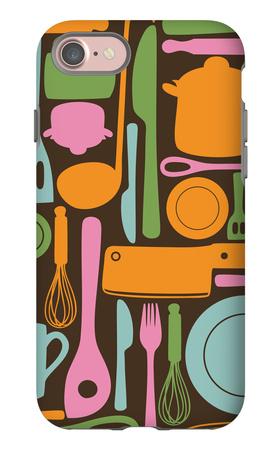 Kitchen Utensils - Seamless Pattern iPhone 7 Case by  kytalpa