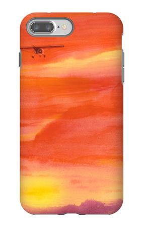 Airplane in Orange Sunset iPhone 7 Plus Case