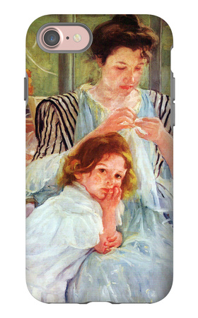 Young Mother Sewing iPhone 7 Case by Mary Cassatt