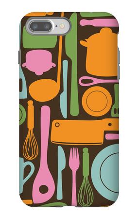 Kitchen Utensils - Seamless Pattern iPhone 7 Plus Case by  kytalpa