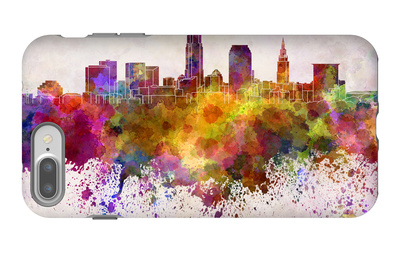Cleveland Skyline in Watercolor Background iPhone 7 Plus Case by  paulrommer